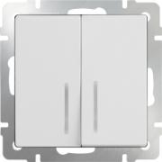 Выключатель двухклавишный проходной с подсветкой белый Werkel a030767 WL01-SW-2G-2W-LED