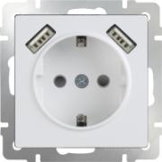 Розетка двойная с заземлением белая Werkel a033471 WL01-SKG-02-IP20