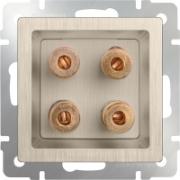 Розетка акустическая х4 шампань рифленый Werkel a035635 WL10-AUDIOx4