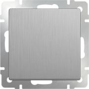 Выключатель одноклавишный серебряный рифленый Werkel a035651 WL09-SW-1G