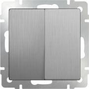 Выключатель двухклавишный проходной серебряный рифленый Werkel a035656 WL09-SW-2G-2W