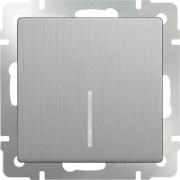 Выключатель одноклавишный проходной с подсветкой серебряный рифленый Werkel a035653 WL09-SW-1G-2W-LED