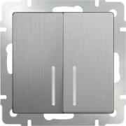 Выключатель двухклавишный с подсветкой серебряный рифленый Werkel a035659 WL09-SW-2G-LED