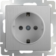 Розетка с заземлением серебряная рифленая Werkel a035648 WL09-SKG-01-IP20