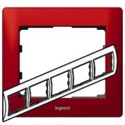 Рамка Legrand Galea life пятиместная горизонтальная (красный)