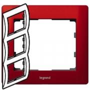 Рамка Legrand Galea life трехместная вертикальная (красный)