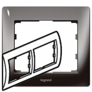 Рамка Legrand Galea life двухместная горизонтальная (тёмный никель)