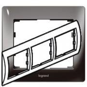 Рамка Legrand Galea life трехместная горизонтальная (тёмный никель)