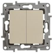 Выключатель-переключатель Etika Plus двухклавишный (слоновая кость)