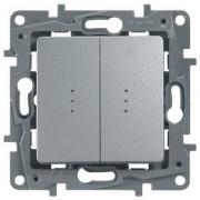 Выключатель-переключатель двухклавишный с подсветкой Etika Plus (алюминий)