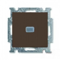 Выключатель одноклавишный с подсветкой ABB Basic 55, шато-черный