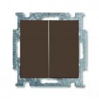 Выключатель двухклавишный с подсветкой ABB Basic 55, шато-черный