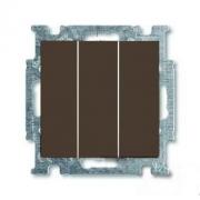 Выключатель трехклавишный ABB Basic 55, шато-черный