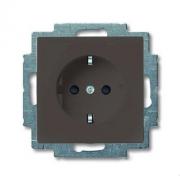 Розетка с заземлением с безвинтовыми зажимами ABB Basic 55, шато-черный