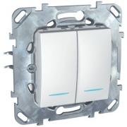 Выключатель двухклавишный проходной (вкл/выкл с 2-х мест) с подсветкой, 10 А / 250 В~ белый