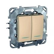 Выключатель двухклавишный проходной (вкл/выкл с 2-х мест) с подсветкой, 10 А / 250 В~ кремовый глянцевый