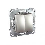 Выключатель двухклавишный,10А/250В,под алюминий