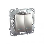 Выключатель двухклавишный проходной (вкл/выкл с 2-х мест) с подсветкой, 10 А / 250 В~