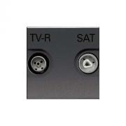 Розетка TV-R/SAT проходная ZENIT (антрацит)