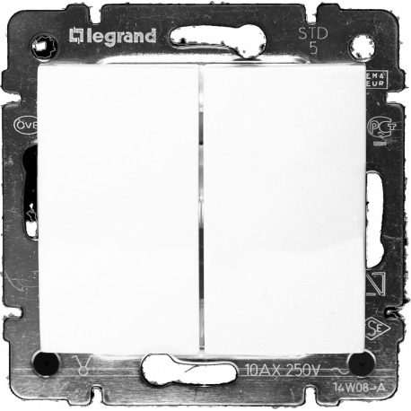 Проходной двухклавишный переключатель Legrand Valena (Белый)