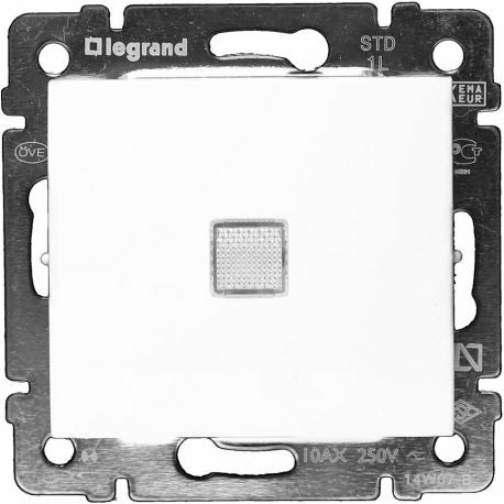 Проходной одноклавишный переключатель с подсветкой Legrand Valena (Белый)