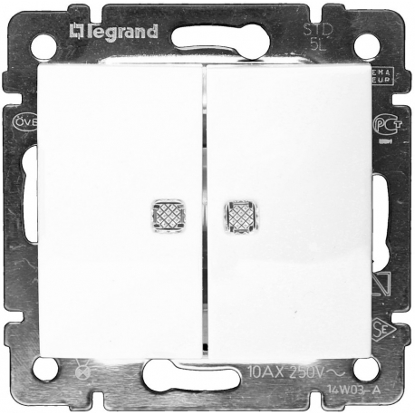 Проходной двухклавишный переключатель c подсветкой Legrand Valena (Белый)