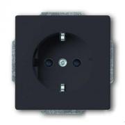Розетка электрическая ABB Dynasty с защитными шторками, безвинтовые клеммы (антрацит)