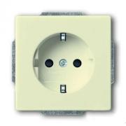 Розетка электрическая ABB с защитными шторками, безвинтовые клеммы (слоновая кость)