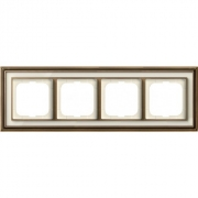 Рамка ABB Dynasty четырехместная (латунь античная, белое стекло)