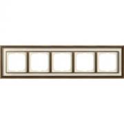 Рамка ABB Dynasty пятиместная (латунь античная, белое стекло)