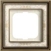 Рамка ABB Dynasty одноместная (латунь античная, белая роспись)