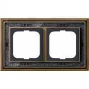 Рамка ABB Dynasty двухместная (латунь античная, черная роспись)