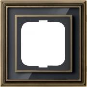 Рамка ABB Dynasty одноместная (латунь античная, черное стекло)