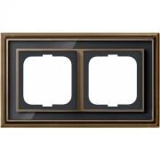 Рамка ABB Dynasty двухместная (латунь античная, черное стекло)