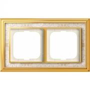 Рамка ABB Dynasty двухместная (латунь полированная, белая роспись)