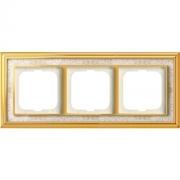 Рамка ABB Dynasty трехместная (латунь полированная, белая роспись)
