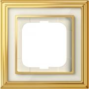 Рамка ABB Dynasty одноместная (латунь полированная, белое стекло)