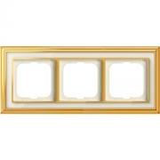 Рамка ABB Dynasty трехместная (латунь полированная, белое стекло)