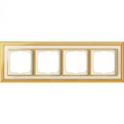 Рамка ABB Dynasty четырехместная (латунь полированная, белое стекло)