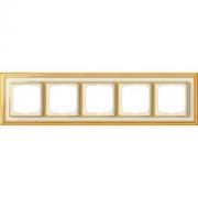 Рамка ABB Dynasty пятиместная (латунь полированная, белое стекло)